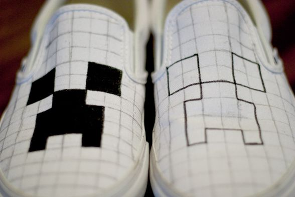 DIY Minecraft shoes | The Green Wife