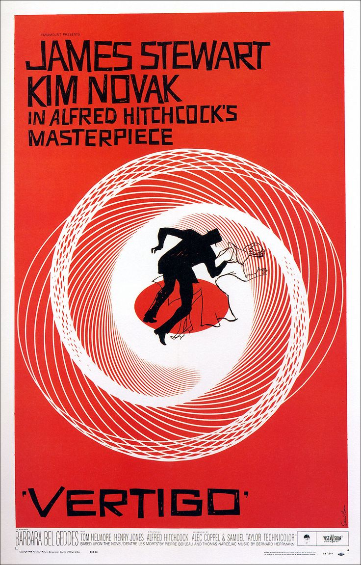 Vertigo (1958) Directed by Alfred Hitchcock. A retired San Francisco detective suffering from acrophobia investigates the strange activities of an old friend's wife, all the while becoming dangerously obsessed with her. [starring James Stewart, Kim Novak, Barbara Bel Geddes...]