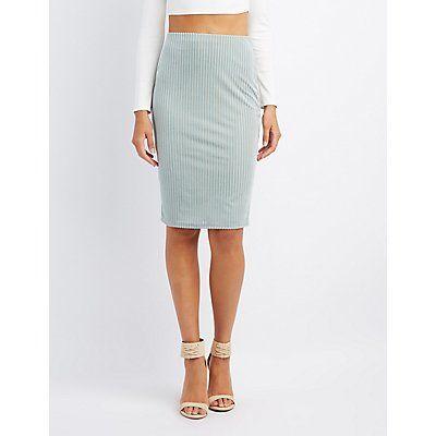 Green Striped Velvet Pencil Skirt - Size XL