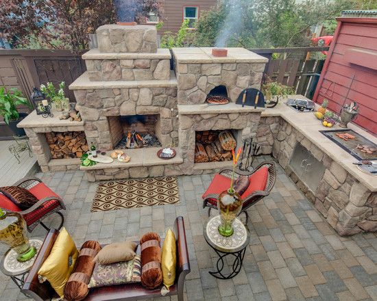 Fall entertaining. Pizza in the oven, burgers and dogs on the grill, and a warm fire.