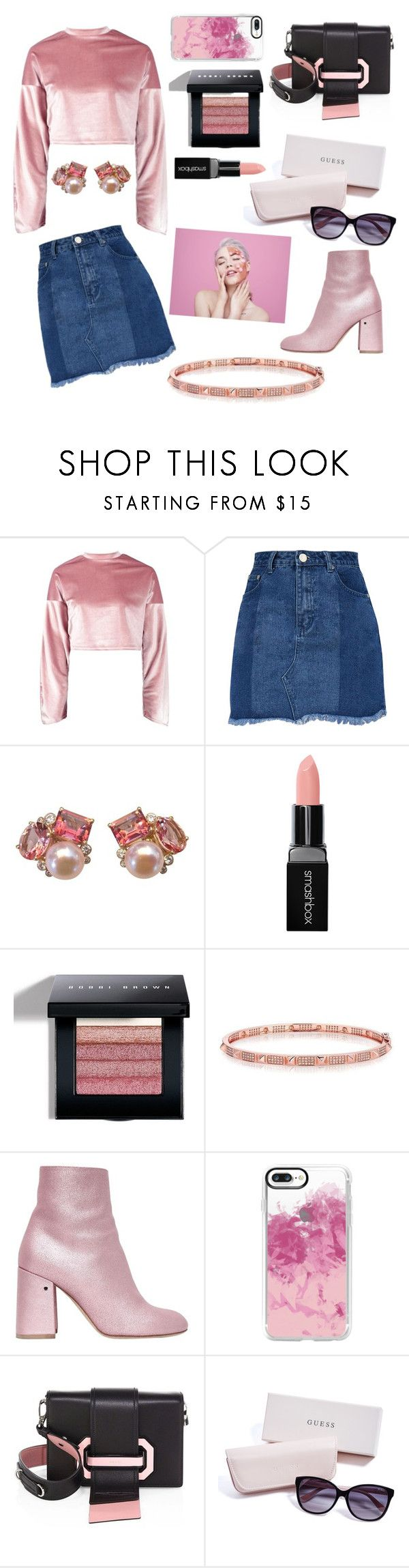 """Untitled #344"" by inesgenebra on Polyvore featuring Boohoo, Smashbox, Bobbi Brown Cosmetics, Laurence Dacade, Casetify, Prada and GUESS"