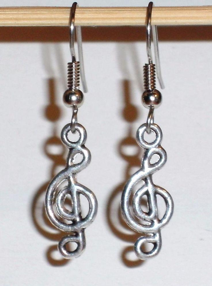Ohrringe Notenschlüssel Musik Damen Hänger Ohrschmuck Modeschmuck ohne Stein