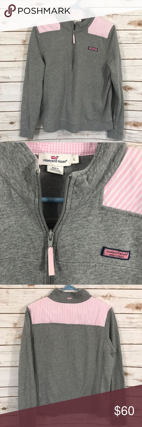 Vineyard Vines Shep Shirt Gray Pink Stripes Sz L Gray with pink and white stripes half zip pullover shep shirt. No stains or holes. Perfect colors for spring! Thanks for shopping our closet! Vineyard Vines Tops Sweatshirts & Hoodies