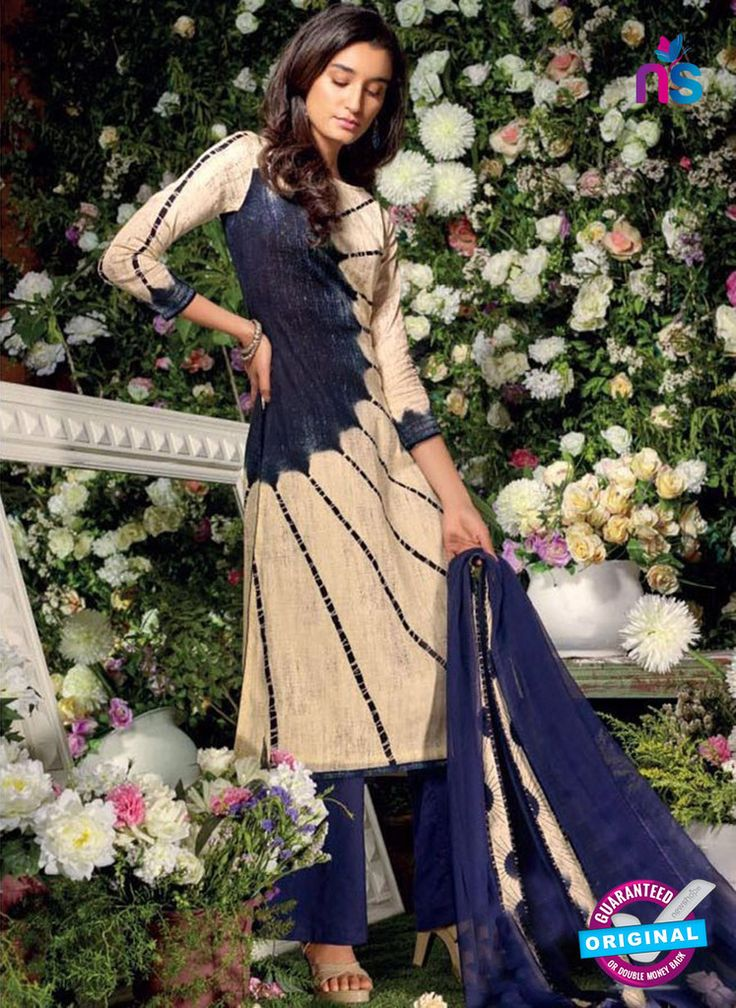 Ganga 6016 Beige and Blue Cotton Suit