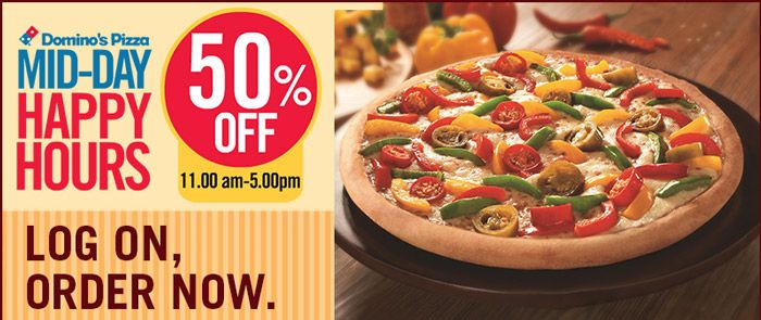 Mid-Day Happy Hours at Domino's Pizza! Get Flat 50% OFF + Rs 100 Cashback on all Domino's Pizza Orders at foodpanda   ‪#‎Foodpanda‬ ‪#‎Food‬ ‪#‎Dominos‬ ‪#‎Pizza‬ ‪#‎Shopping‬ ‪#‎India‬ ‪#‎DominosPizza‬