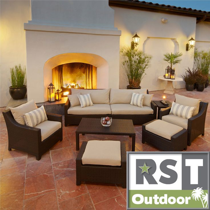RST Slate 8 Piece Sofa, Club Chair And Ottoman Patio Furniture Set Outdoor  Model