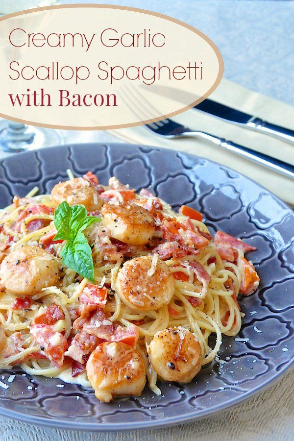 Creamy Garlic Scallop Spaghetti with Bacon   ready in well under 30  minutes  this in385 best Quick and Easy Workday Meals from Rock Recipes images on  . Good Quick Dinner For Two. Home Design Ideas