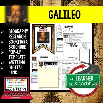 Galileo Biography Research, Bookmark Brochure, Pop-Up Writing Google