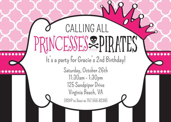 Best 25 Pirate birthday invitations ideas – Princess and Pirate Birthday Invitations