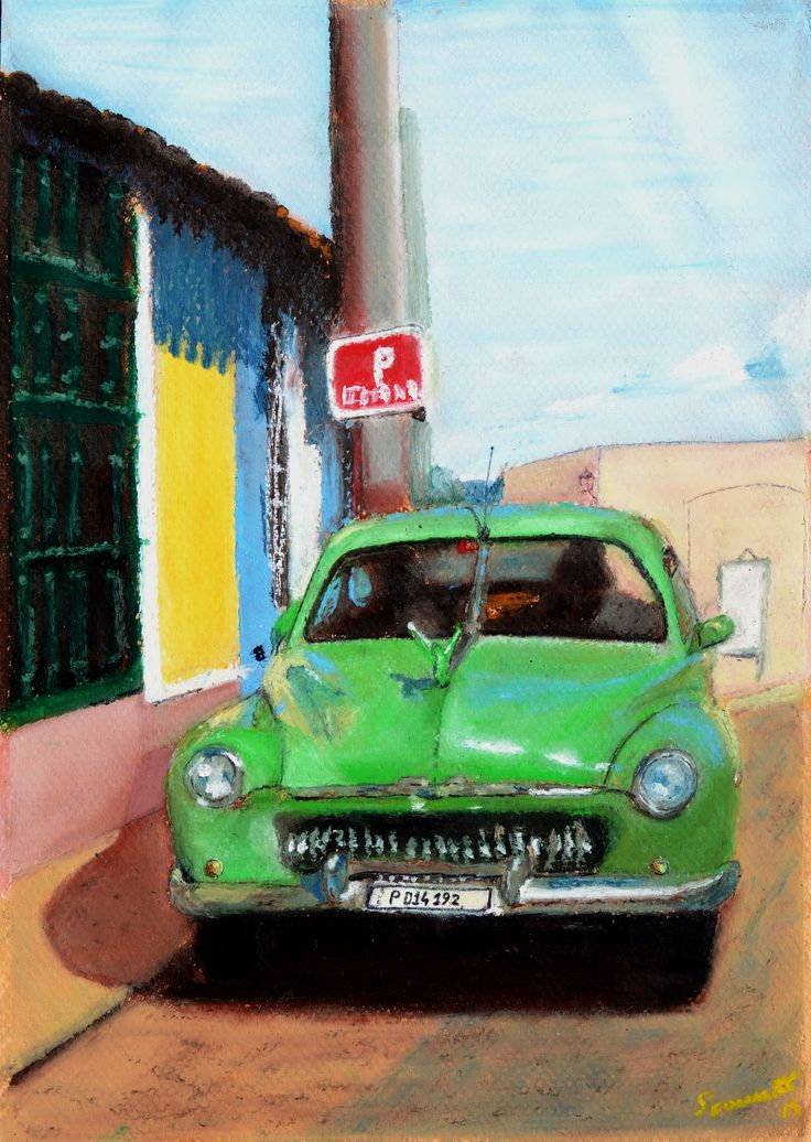 """""""Viva Cuba!"""", Ölpastell auf Papier 29x21  oilpastel on paper"""