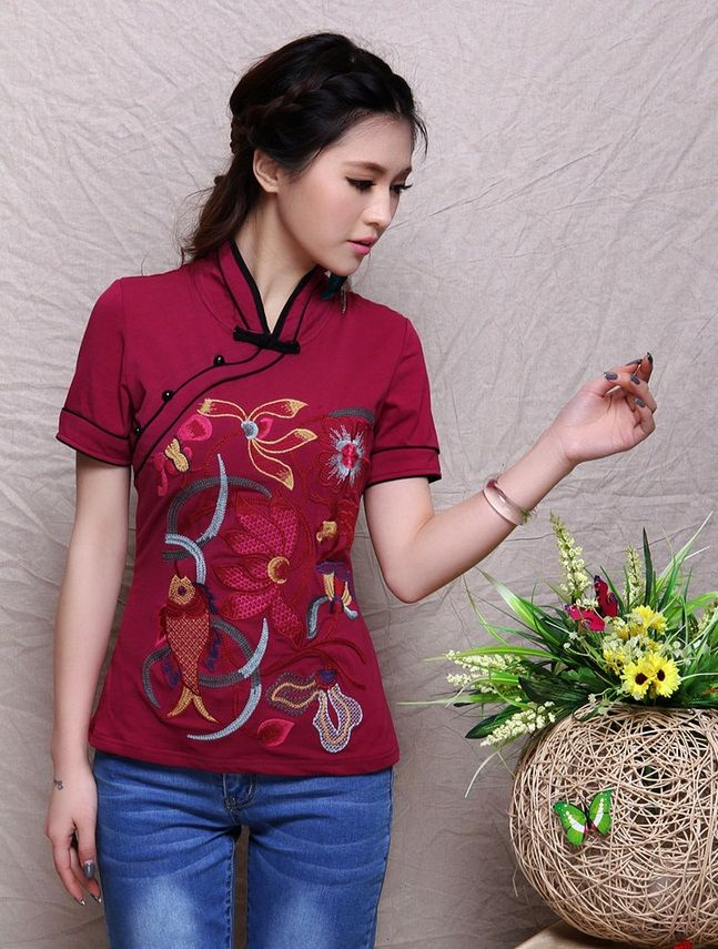 Modern Chinese Style Top - Modern Cheongsam Top -Cheongsam Top with Embroideries (Red/ Black) $67.00 (50,48 €)
