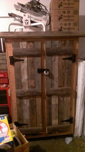 Picture of Repurposed pallets into gun cabinet
