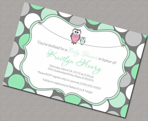 Owl Baby Shower Invitation Neutral Polkadot by alittletreasure, $15.00
