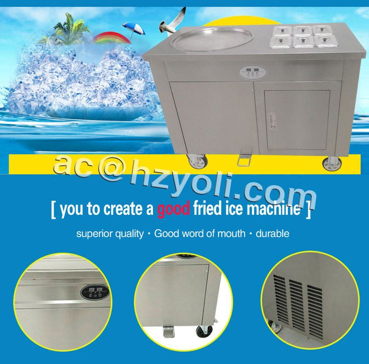 Biggest Fried Ice Cream Machine,Steel Fried Ice Machine With 6 Bucket,110V/220V