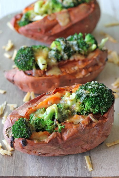 Broccoli Cheese Stuffed Sweet Potatoes...this looks unbelievably easy and delicious