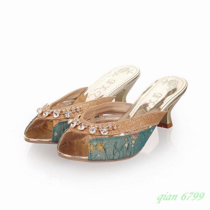 Sweet Kitten Heels Womens Slippers Sandals Shoes Open Toe Slip On Rhinestones
