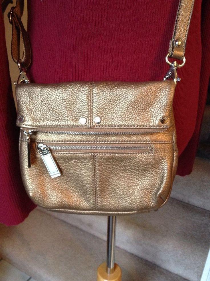 TIGNANELLO Champagne Gold Pebbled Leather Slim 3 Pocket Foldover Crossbody Bag #Tignanello #MessengerCrossBody