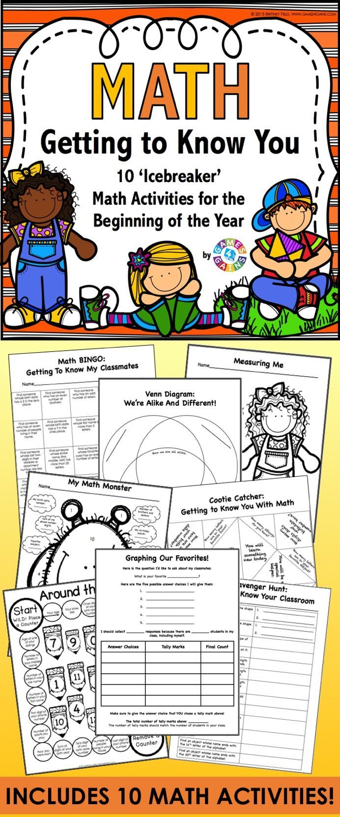 All About Me Math provides a great opportunity for students to use basic math concepts as they get to know one another at the beginning of the year. This All About Me packet comes with 10 fun and engaging math activities and games (plus a bonus math terms word search). This packet is perfect for starting off the year with 2nd-4th graders.