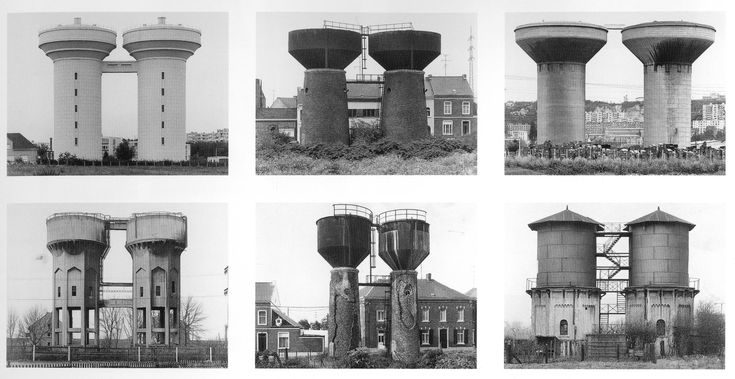 Bernd and Hilla Becher, Water Towers: Twin Water Towers, 2010 6 Black and white photographs, 37 x 68 1/2 inches 93.9 x 173.9 cm