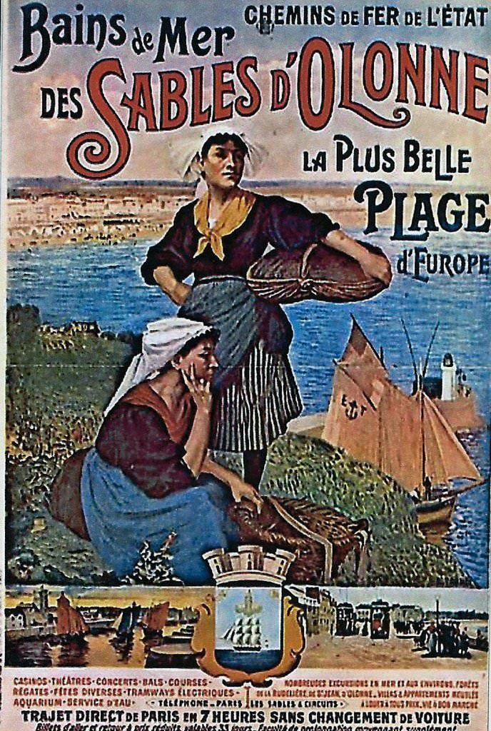 """Affiche retro vintage - """"Bains de Mer des Sables d'Olonne - La plus belle plage d'Europe"""" - Chemins de fer de l'Etat"""