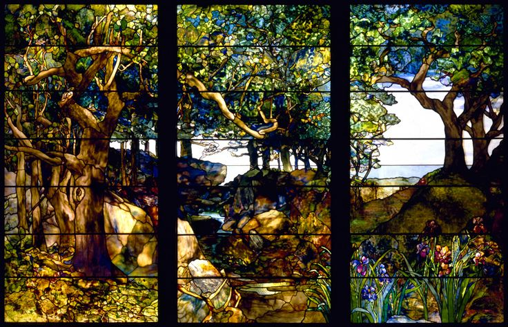 'A Wooded Landscape in Three Panels', stained glass window by Louis Comfort Tiffany (c.1905).