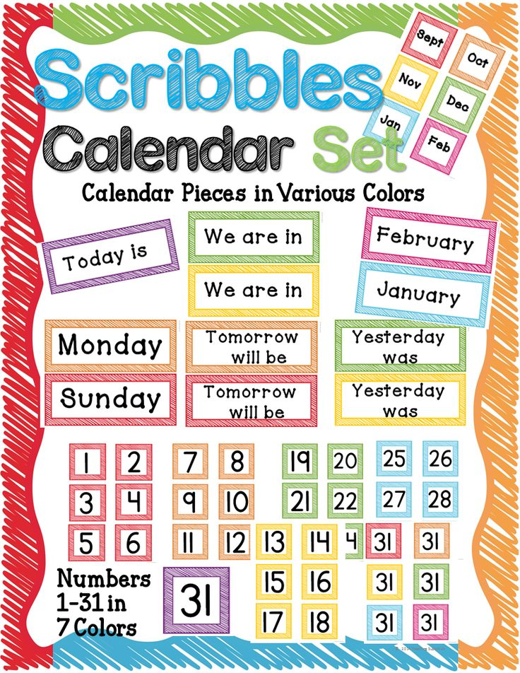 Classroom Decor Resources ~ Calendar and weather cards rainbow school time