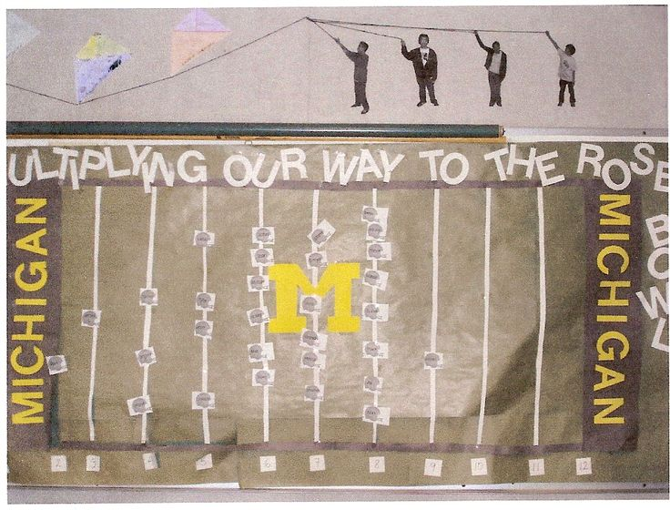 college football Classroom Bulletin Boards | Multiplying Our Way to the Rose Bowl Bulletin Board""