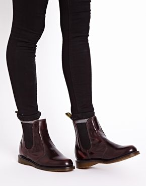 $198, Dr Martens Kensington Flora Burgundy Chelsea Boots by Dr. Martens. Sold by Asos. Click for more info: http://lookastic.com/women/shop_items/136284/redirect