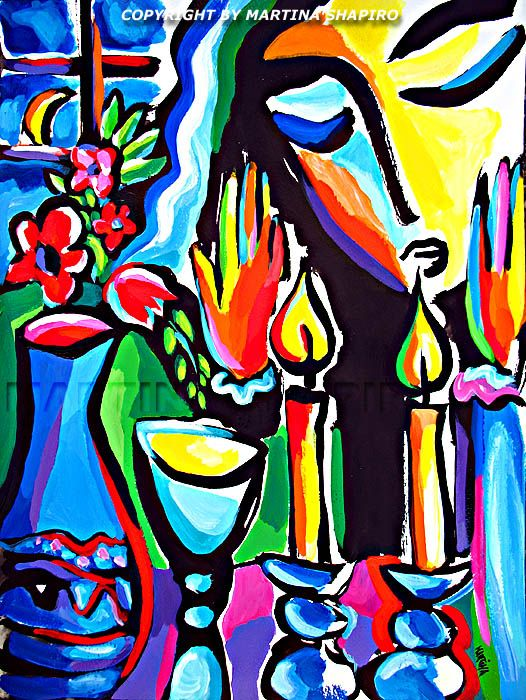 Expression Of Shabbat Still Life Painting Jewish Painting