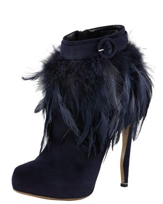 nicholas kirkwood feather trim ankle boot