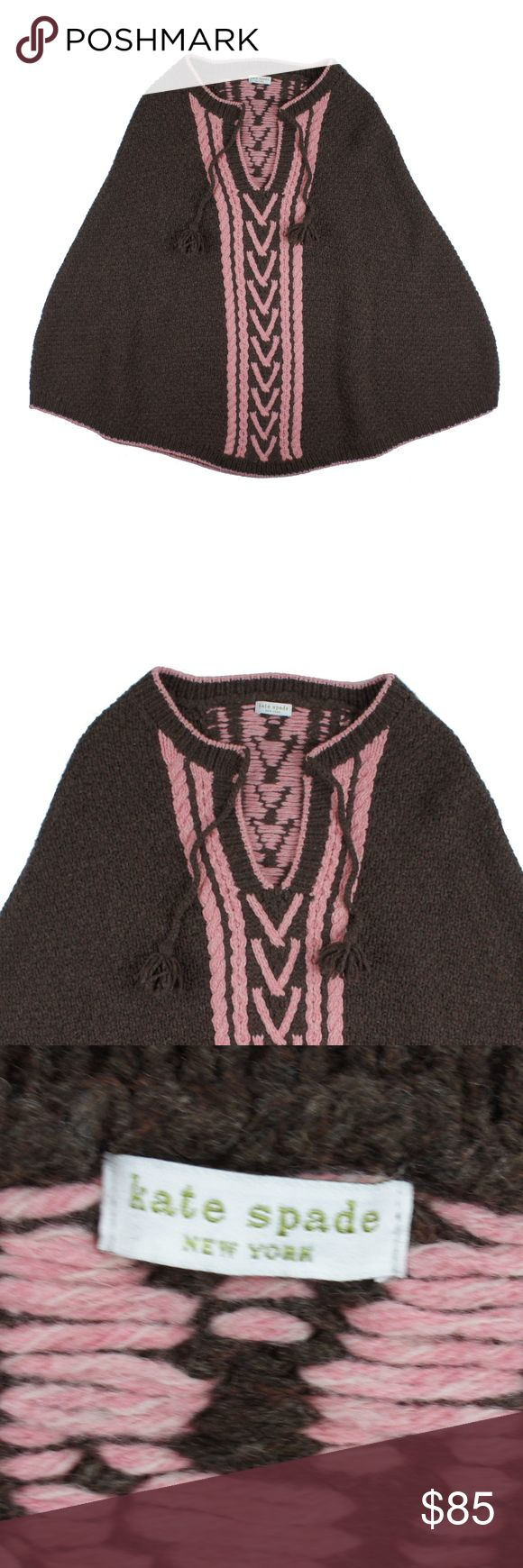 """KATE SPADE Brown Pink Wool Boho Poncho Sweater Size - M  This brown and pink boho poncho sweater from KATE SPADE is in excellent condition. It features a pullover style (no arm slits) and a tie at the neckline. Made of 100% Wool.   Measures: Total length: 28"""" kate spade Sweaters Shrugs & Ponchos"""