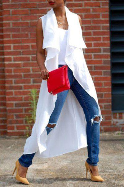White Turn Down Collar Sleeveless Trench Coat WHITE: Jackets & Coats | ZAFUL