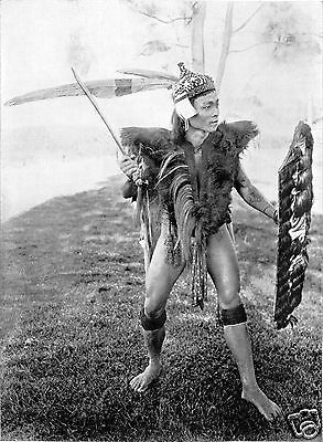 Dayak-Warrior-with-Sword-Shield-Baram-Borneo-1912-6x5-Inch-Reprint-Photo