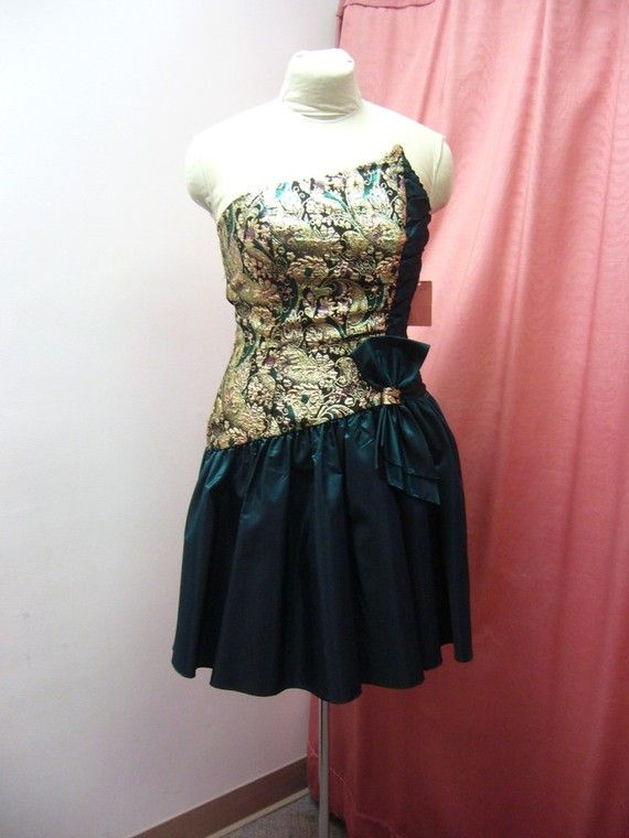 1980s gold and black cocktail dress