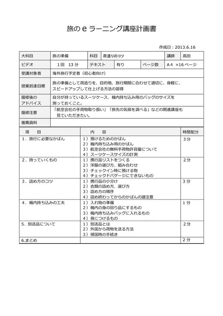 旅行講座:シラバス - 荷造りのコツ / 講師 : 高田紀美子 by 旅の設計図会  via slideshare