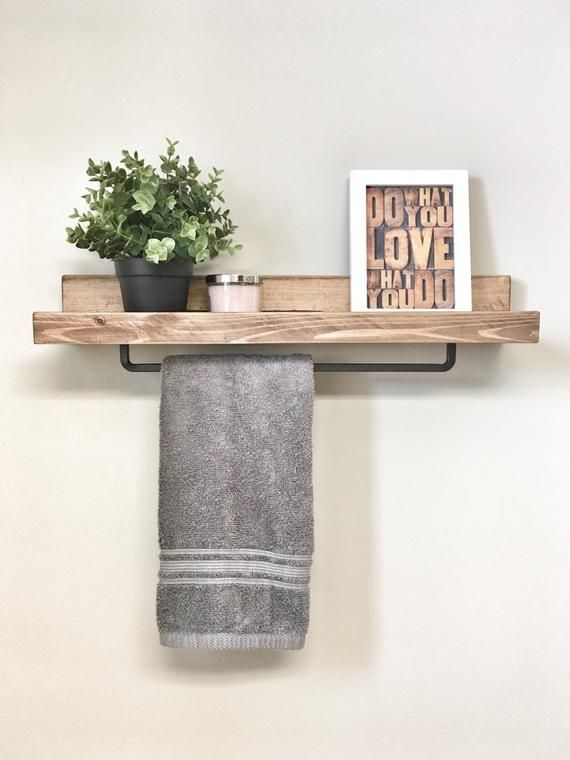 Towel Hanger Wall Shelf Rack Black For Bathroom Rustic Wooden Rack Ledge Shelf Ledge Shelves Wooden R With Images Farmhouse Towel Bars Shelves Floating Shelves Bathroom