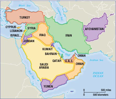 west asian map