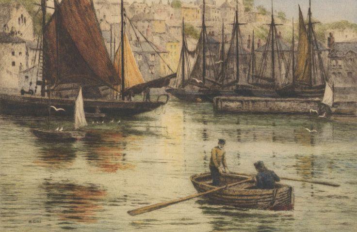 Henry George Walker - Across the Harbour, Brixham, 19th Century Colour Print