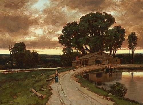 Figure on the road and farmhouse at sunset - Homer Watson