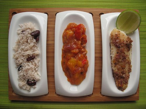 Jamaican Jerk Fish, Creole Sauce and Rice n Peas    http://www.kitchenbutterfly.com/2010/02/21/jamaican-jerk-fish-creole-sauce-and/