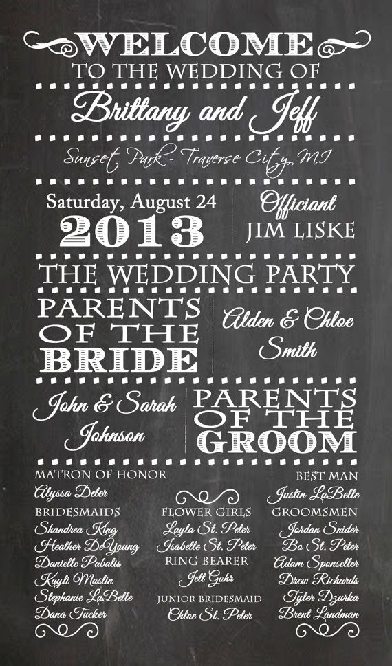 25 Best Wedding Program Chalkboard Ideas On Pinterest