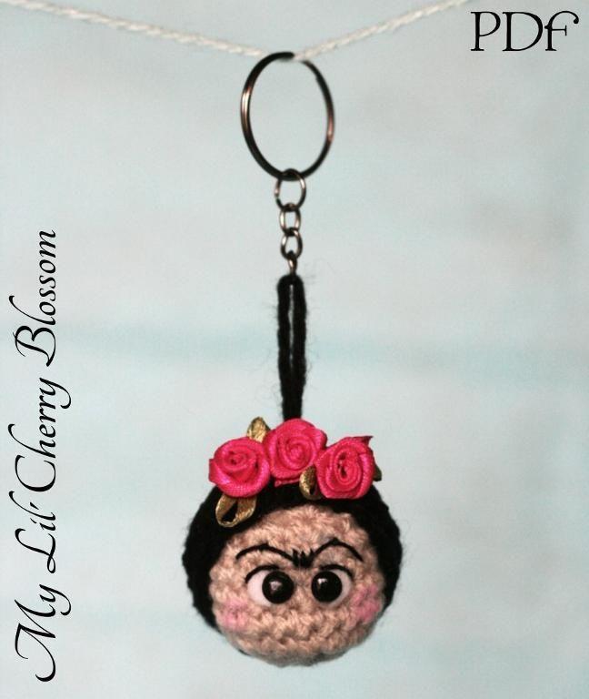 (4) Name: 'Crocheting : Frida Kahlo Crochet Keyring (Keychain)