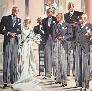 Groom, bride, guest (in checked trousers) Best man (?) and usher. I think the father of the bride is the beaming man with white hair; the man with the blazer and red carnation is presumable a guest. Esquire, June 1934. Pg. 139.