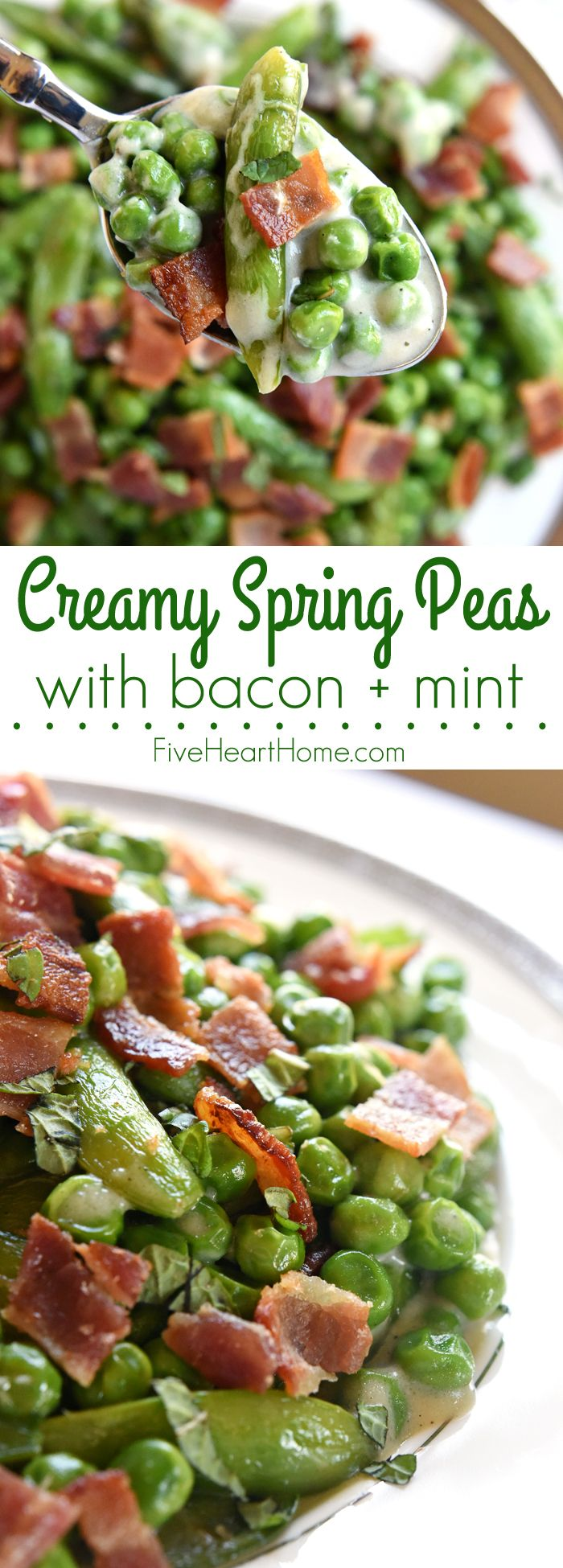Creamy Spring Peas with Bacon + Mint FoodBlogs.com