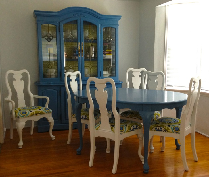Custom Refinished Dining Table, 6 Chairs, China Cabinet