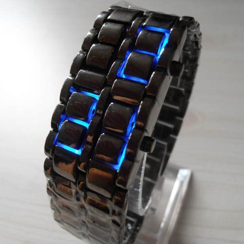 Blue LED Digital Black Lava Style Wrist Watch Iron Metal