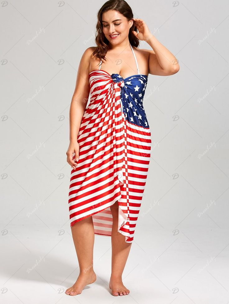 Stars and Stripes Print Plus Size Cover Up Dress - COLORMIX   #women #dress #style