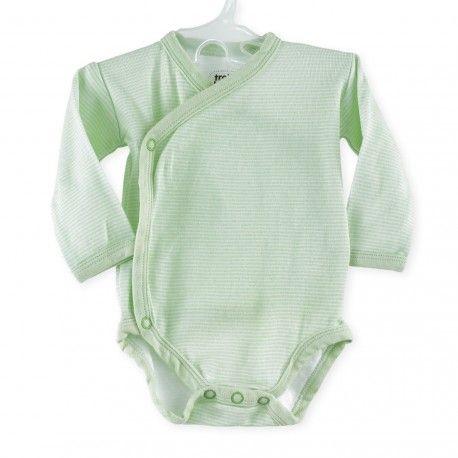 Body bébé mixte croisé à rayures vert anis #Kinousses