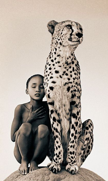 photography by Gregory Colbert. (Bushmen Tribe Girl and Cheetah)