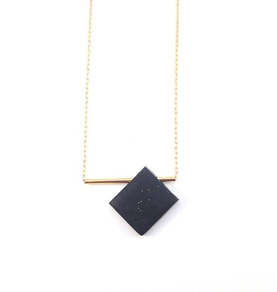 Minimal-Geometric necklace. Dark blue. Gold bar. Elegant. Modern. Gold plated. Gold filled. Polymer. EJECTA